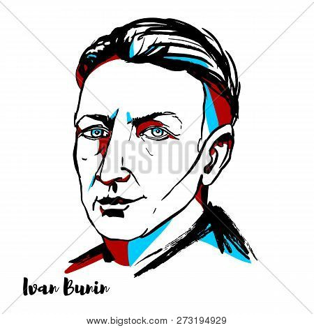 Russia, Moscow - November 11, 2018: Ivan Bunin Engraved Vector Portrait With Ink Contours. The First