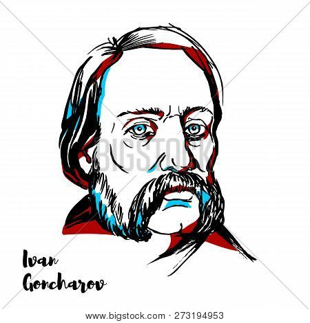 Russia, Moscow - November 12, 2018: Ivan Goncharov Engraved Vector Portrait With Ink Contours. Russi