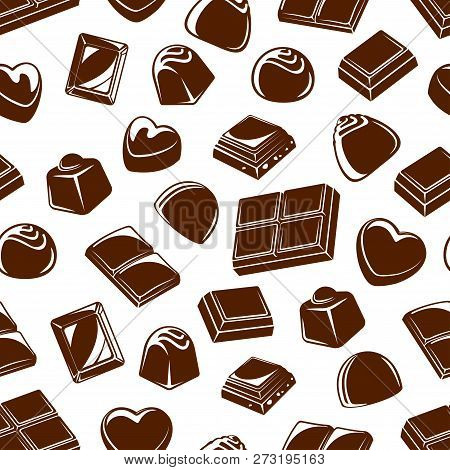 Chocolate Candies Seamless Pattern Background With Sweet Food Desserts. Vector Truffles And Bars Wit