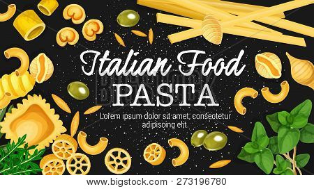 Italian Pasta And Macaroni Food With Spice Herbs And Olives. Vector Spaghetti, Fettuccine And Fusill