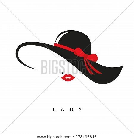 Lady With Elegant Hat With Red Bow And Red Lips Vector Illustration Eps10