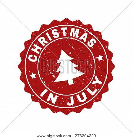 Grunge Round Christmas In July Stamp Seal With Fir-tree. Vector Christmas In July Rubber Seal Imitat