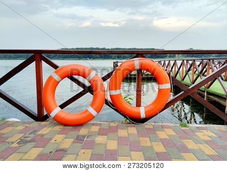 Two Orange Rescue Circle, Emergency, Rescue Drowning