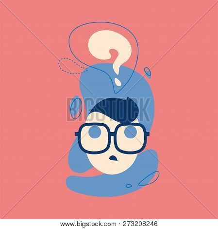 Icon Of Thinking Man With Question Mark In Think Bubble. Think, Ask, Emoji, Stiker Illustration Conc