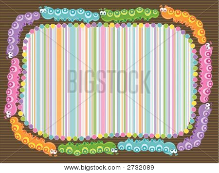 cartoon caterpillar stripes frame (vector) - illustration poster
