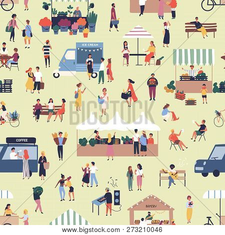 Seamless Pattern With People Buying And Selling Goods At Street Food Seasonal Market. Backdrop With