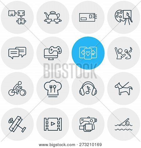 Vector Illustration Of 16 Activities Icons Line Style. Editable Set Of Postcrossing, Headphone, Vide