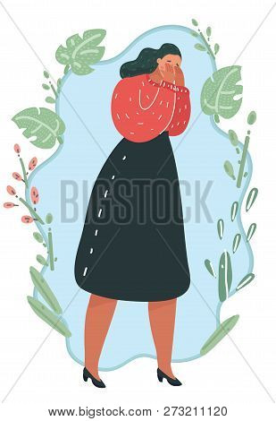 Vector Cartoon Illustration O F Mage Of Young Sad Crying Woman Who Covering Face With Her Hands. Sad