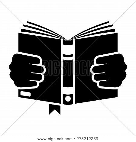 Silhouette Book Holding In Hand. Man Is Reading A Book. Open Magazine. Learning Literature Cartoon I