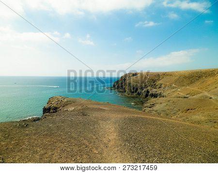 Beautiful Canarian Coast. Nature Concept, Lanzarote Island Landscape And Sea Coast, Papagayo Beach.