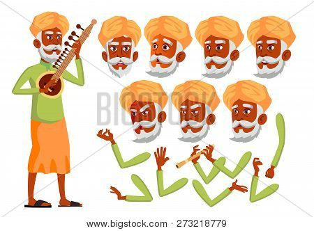 Indian Old Man Vector. Hindu. Asian. Senior Person. Aged, Elderly People. Friends, Life. Face Emotio