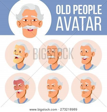 Asian Old Man Avatar Set Vector. Face Emotions. Senior Person Portrait. Elderly People. Aged. Facial