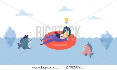 Creative Idea Save From Business Competition. Businesswoman Character Swim On Innertube Above Danger