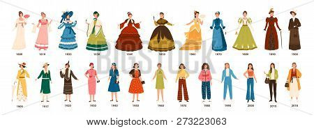 History Of Fashion. Collection Of Female Clothing By Decades. Bundle Of Pretty Women Dressed In Styl