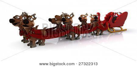 3D render of santas sleigh and reindeer