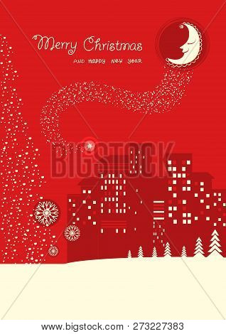 Merry Christmas Card On Red Moon Night  Backrgound With Holiday Text