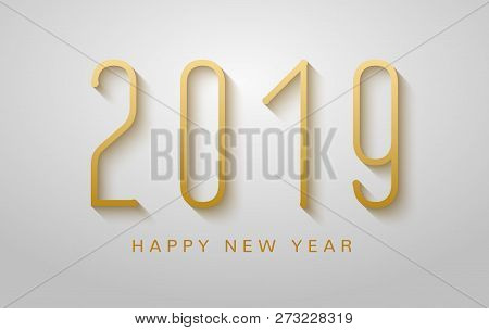 Happy New Year 2019 Background. Golden Typography Flyer Luxury Christmas And New Year 2019 Greeting