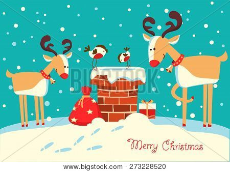 Christmas Card With Deers And Bullfinch Birds Sitting On The Chimney And Looking On Santa Claus