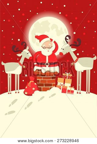 Santa Claus In The Chimney With Deers In The Christmas Holiday Winter Moon Night. Vector Illustratio