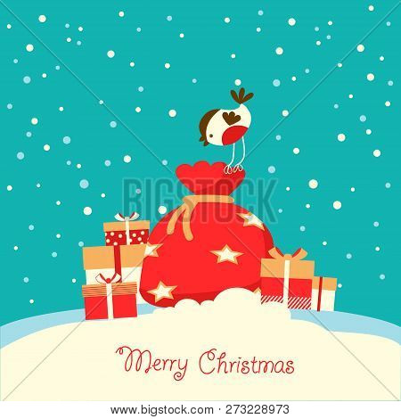 Merry Christmas Card With Holiday Presents On Snow Background
