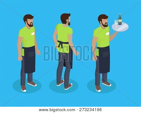 Waiter In Uniform, Working Concept Vector Icons. Bearded Man In Black Apron With Tray Full Of Food I