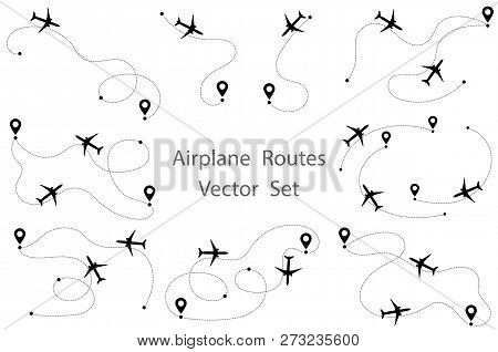 Airplane Route Vector Set. Line Path Vector Icon Of Air Plane Flight Route With Start Point And Dash