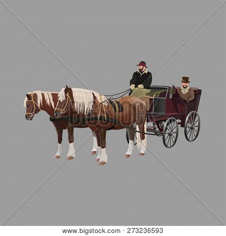 Horse-drawn Four-wheeled Carriage. Vector Illustration Isolated On White Background