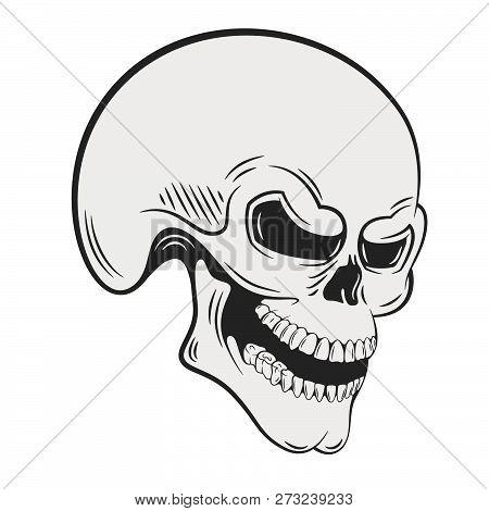 Human Skull With Sinister Grin. Digital Ink Illustration