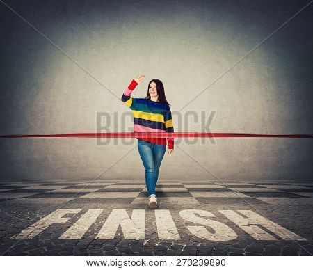 Winning Young Woman, Smiling Broadly Celebrate Waving Palm Raised Up, Greeting Friends. Casual Girl