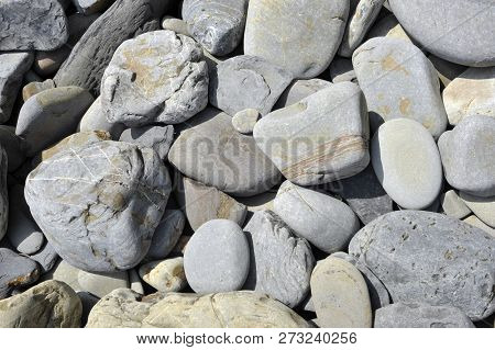 Grey Stones Or Rocks On A Beach In Wales Near Tenby, Rounded And Eroded By The Action Of The Sea And