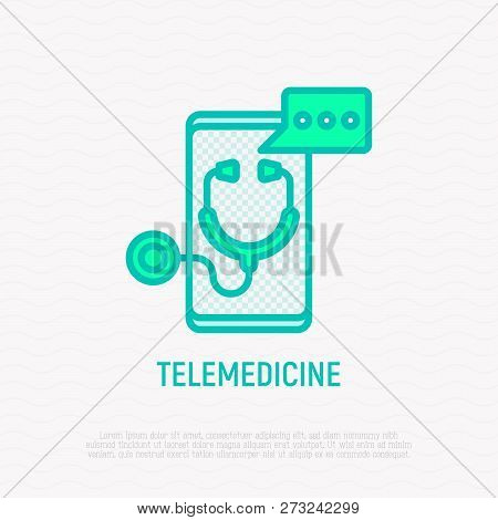 Telemedicine Thin Line Icon: Stethoscope With Speech Bubble On Screen Of Smartphone. Modern Vector I