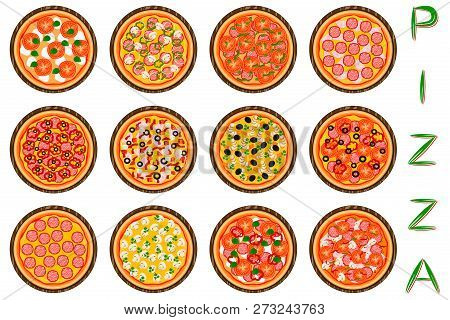 Vector Illustration Logo For Whole Round Hot Pizza, Slice Triangle From Pizzeria Menu. Pizza On Wood