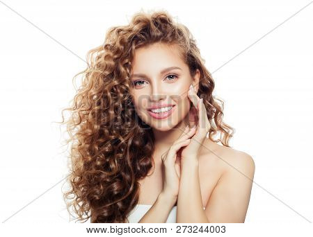 Perfect Girl With Healthy Skin And Long Wavy Hair Isolated On White Background. Spa Beauty, Cosmetol