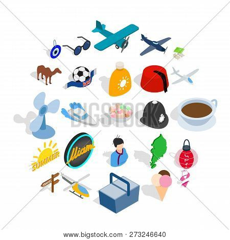 Touring Icons Set. Isometric Set Of 25 Touring Vector Icons For Web Isolated On White Background