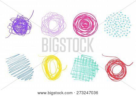 Colorful Backgrounds With Array Of Lines. Intricate Chaotic Textures. Wavy Backdrops. Hand Drawn Tan