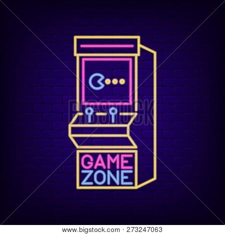 Arcade Game Machine Neon Sign. Game Zone Night Light Signboard With Retro Slot Machine. Gaming Adver
