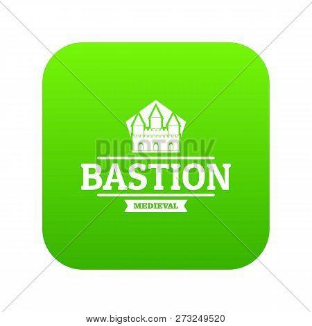 Bastion Medieval Icon Green Vector Isolated On White Background