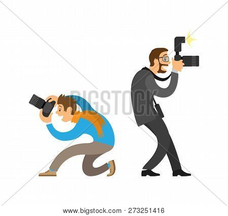 Photographer and paparazzi, modern cameras with flash. Man taking photo from bottom angle, journalist in glasses wearing suit vector illustrations. poster