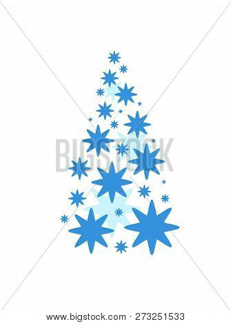 A Christmas Tree Made Up Of A Collection Of Blue Stars Of Various Sizes.