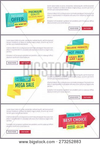 Special Offer Banners Set, Vector Design Icons. Hot Price, Mega Sale, Premium Discount, Best Choice,