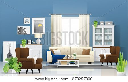 Living Room Background With Wooden Furniture , Plants And Blue Wall  In Modern Rustic Style , Vector