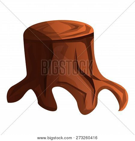 Old Tree Stump Icon. Cartoon Of Old Tree Stump Vector Icon For Web Design Isolated On White Backgrou