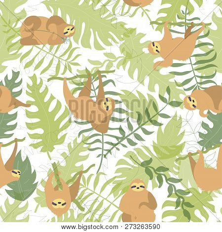 Vector Seamless Pattern Illustration Of Cute Character Sloth With Jungle Leaves. Isolated Cartoon Ba