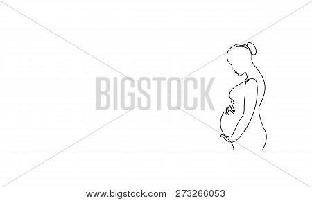 Pregnant Woman Single Continuous Line Art. Medicine Health Care Pregnancy Healthy Silhouette Holding