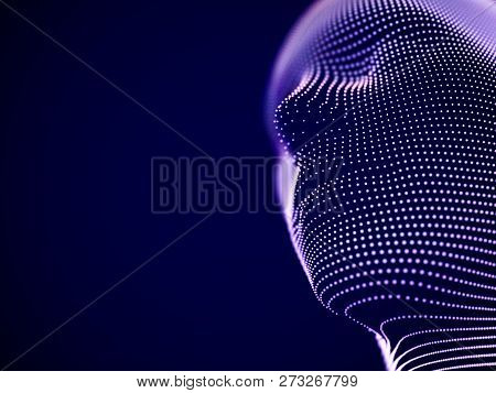 Concept Of Virtual Reality Or Cyberspace: Male Face Consisting Of Particles. Futuristic Man Or Robot