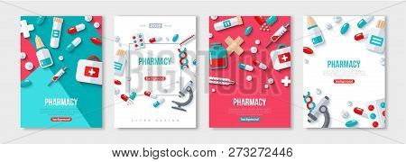 Pharmacy Posters Set With Flat Icons. Vector Illustration For Medical Or Healthcare Presentation, Do