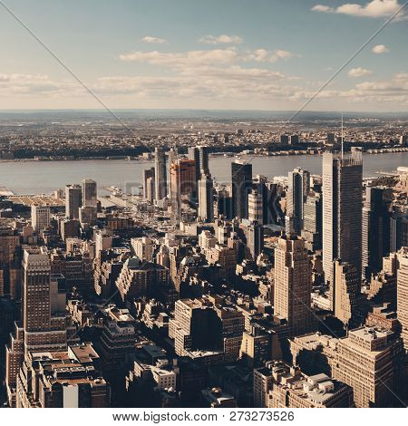 New York City west side urban cityscape view.