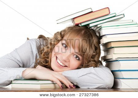 Graceful female student with books