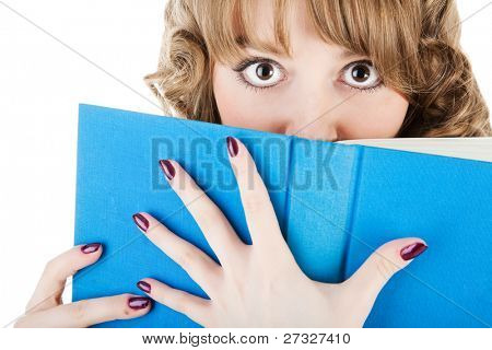 high school girl holding book over white