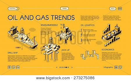 Oil And Gas Industry Trends Isometric Vector Web Banner. Offshore Drilling Technologies Concept With